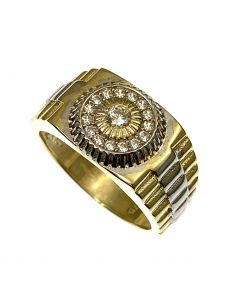 New 9ct Gold CZ Rolex Style Ring
