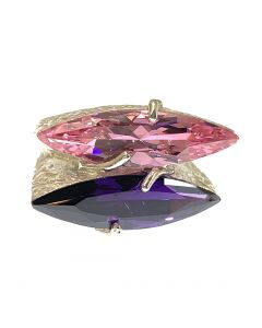 New Sterling Silver Pink & Purple CZ Fashion Ring