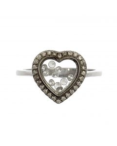 New Sterling Silver Floating CZ Heart Ring
