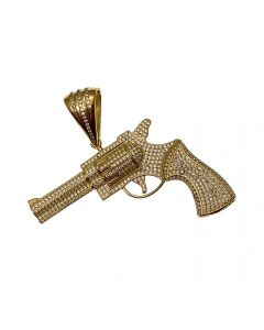 New 9ct Gold CZ Iced Out Gun Pendant