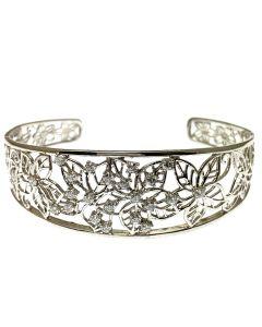 New Silver Floral CZ Bangle