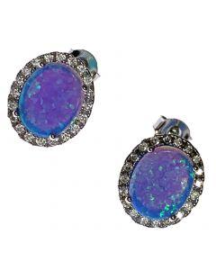 New Silver Opal Cluster Earrings