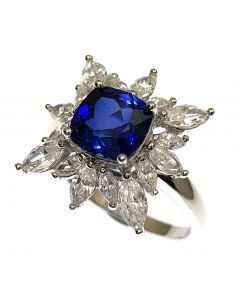 New Sterling Silver Sapphire CZ Ring
