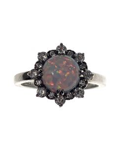 New Silver Opal & CZ Cluster Ring