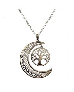 New Silver Tree of Life Moon Necklace
