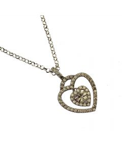 New Sterling Silver CZ Heart Pendant Necklace