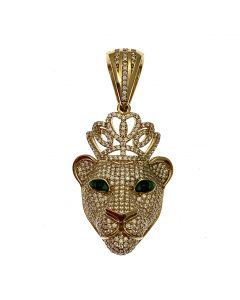 New 9ct Gold CZ Iced Out Lioness Pendant