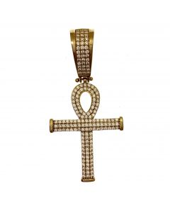 New 9ct Gold CZ Iced Out Ankh Cross