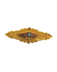 Pre-Owned 9ct Gold Seed Pearl & Turquoise Brooch