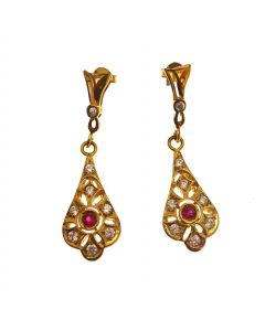 18ct Gold CZ & Ruby Earrings