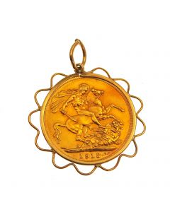 22ct Gold Full Sovereign in 9ct Gold Mount Pendant