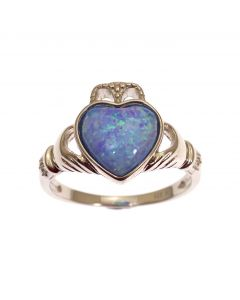 New Sterling Silver Blue Opal Claddagh Ring