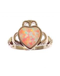 New Sterling Silver Opal Claddagh Ring