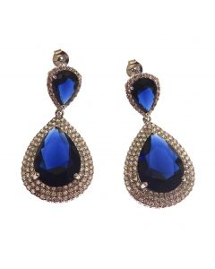 New Sterling Silver Sapphire CZ Chandelier Earrings