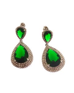 New Sterling Silver Emerald CZ Chandelier Earrings