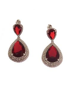 New Sterling Silver Ruby CZ Chandelier Earrings