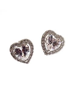 New Sterling Silver CZ Heart Earrings