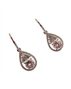 New Sterling Silver CZ Dangling Earrings