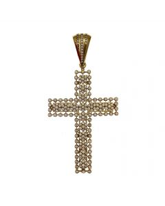 New 9ct Gold Floral CZ Cross