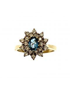 Pre-Loved 18ct Gold Topaz & Diamond Engagement Ring