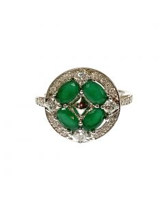 New Sterling Silver Emerald Green CZ Cluster Ring