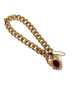 9ct Gold Amethyst Hollow Albert Bracelet