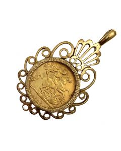 22ct Gold Half Sovereign Coin in 9ct Gold Fancy Mount