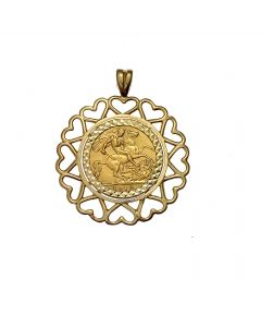 22ct Gold Half Sovereign in 9ct Gold Fancy Pendant Mount