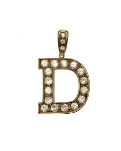 Pre-owned Large 9ct Gold CZ Letter 'D' Pendant