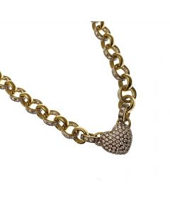 New 9ct Gold White CZ Heart Belcher Necklace
