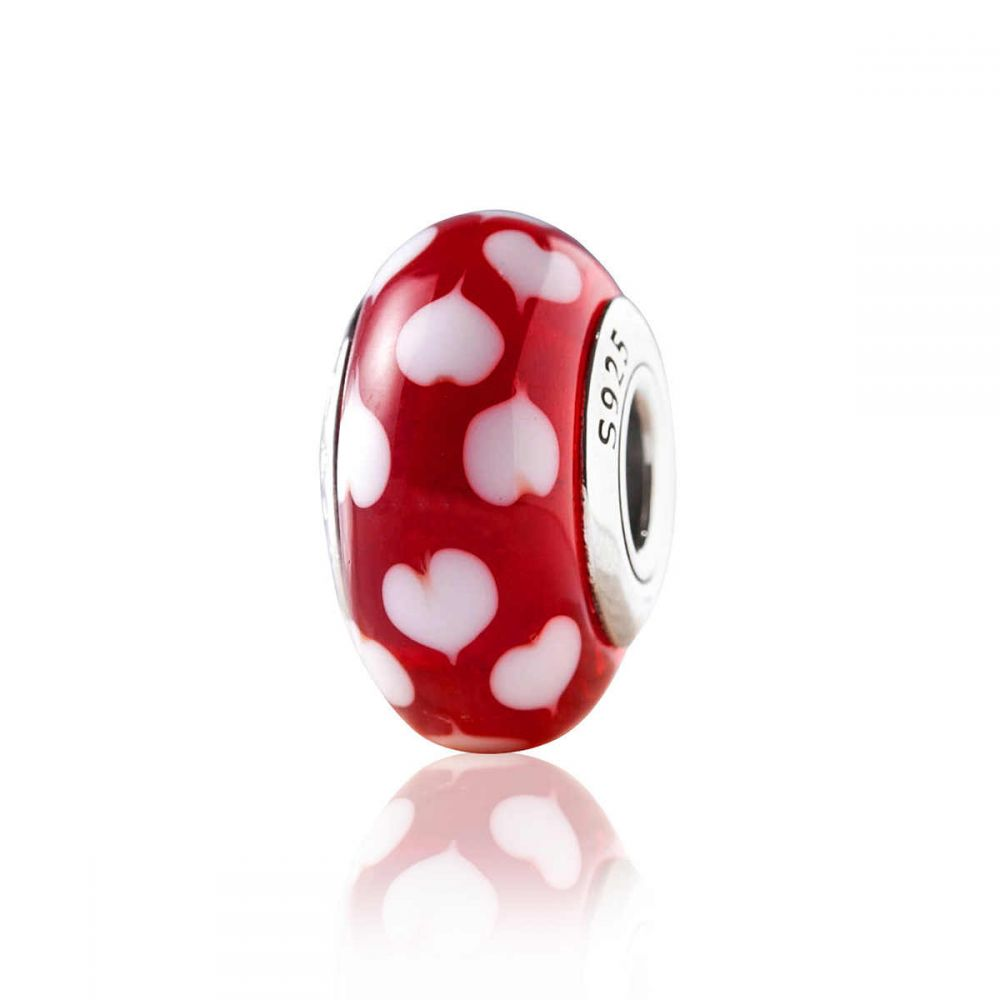 Pandora Red Pink Heart Murano Glass Charm Silver Charms Ladies Charms Bracelets