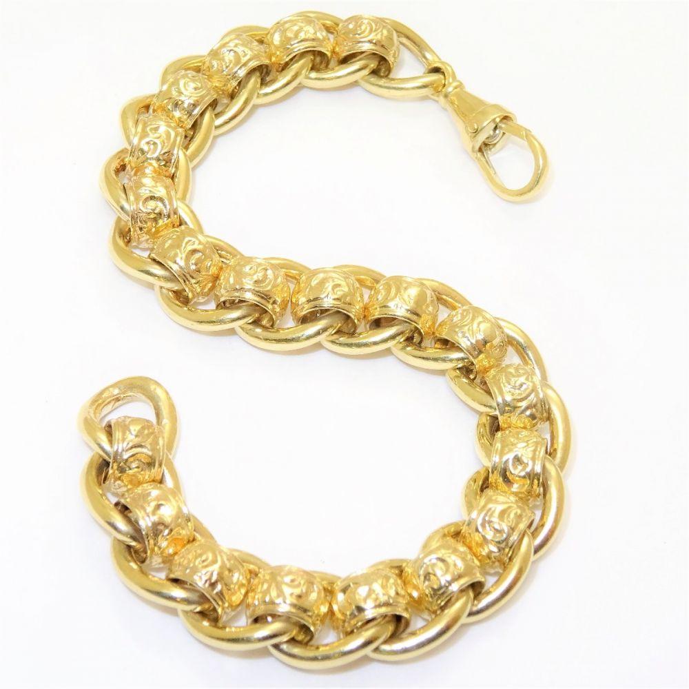 c6b8d7b95ddb4 NEW Heavy 9ct Gold Patterned RollerBall Bracelet