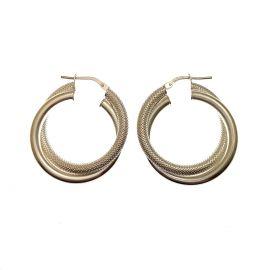 New Sterling Silver Patterned Hoop Earrings