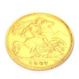 Pre-Owned 22ct Gold 1907 Edward Full Sovereign Coin