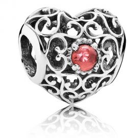 925 ALE Silver Openwork Filigree Heart Charm - Garnet - January Birthstone
