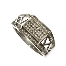 New Sterling Silver Iced Out Gent's Ring