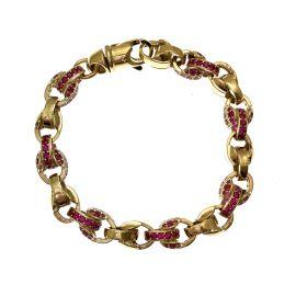 New 9ct Gold Pink CZ Tulip Bracelet