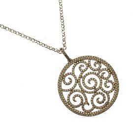 New Silver Round CZ Pendant Necklace