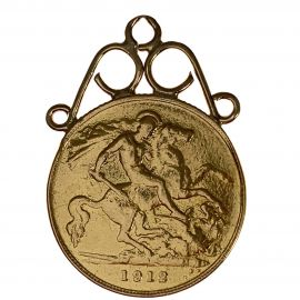 1912 22ct Gold Half Sovereign Coin Pendant