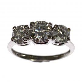 14ct White Gold Trilogy Diamond Ladies Ring