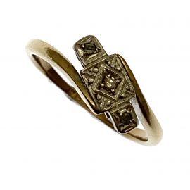 Vintage 9ct Gold Diamond And Platinum Ring
