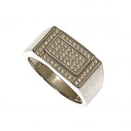 New Silver Micro Pave Signet Ring