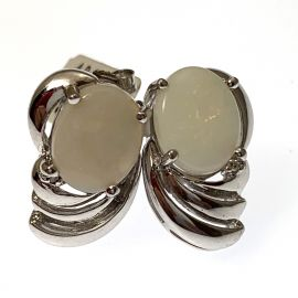 Pre-Owned 9ct White Gold Opal Earrings