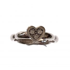 New Sterling Silver CZ Heart Stacking Ring