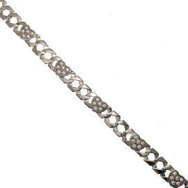 New Silver CZ Heart Curb Bracelet