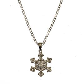 New Silver CZ Snow Flake Necklace