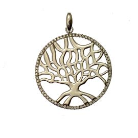 New Silver CZ Tree of Life Pendant