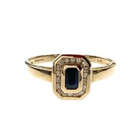 Art Deco Style 9ct Gold Sapphire And Diamond Ring
