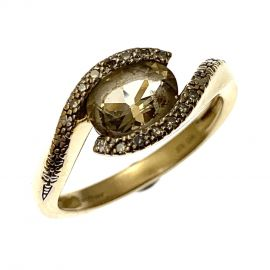 Pre-Owned 9ct Gold Citrine and Diamond Dress Ring