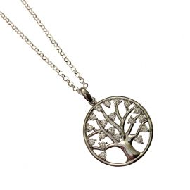 New Silver CZ Tree of Life Necklace
